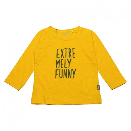 IMPS&ELFS T-shirt long-sleeved organic cotton boy & girl yellow with dark grey print