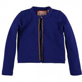 CKS Cardigan round neck girl cobalt blue