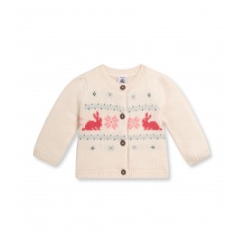 PETIT BATEAU Cardigan round neck wool and cotton girl offwhite
