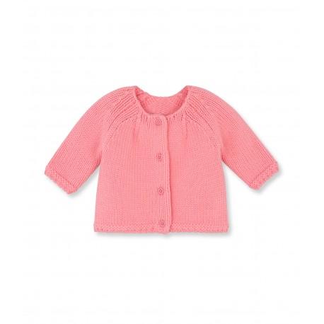 PETIT BATEAU Cardigan round neck wool girl coral pink