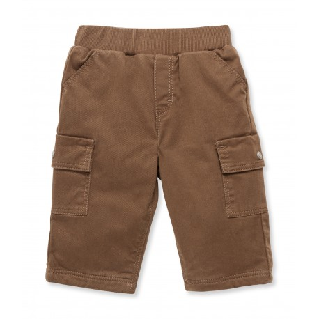 PETIT BATEAU Trousers gabardine cotton with lining boy taupe brown