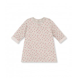 PETIT BATEAU Dress A-line girl light grey with multicolor flowers