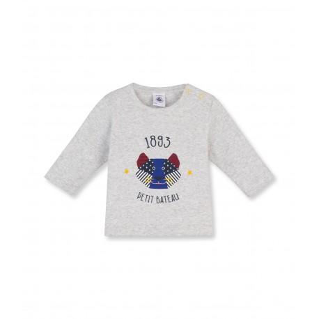 PETIT BATEAU T-shirt long-sleeved boy mottled light grey