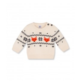 PETIT BATEAU Pullover round neck jacquard wool and cotton boy offwhite