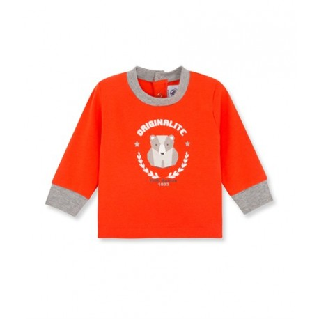 PETIT BATEAU T-shirt long-sleeved boy orange red