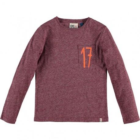 CKS T-shirt long-sleeved boy mottled bordeaux red