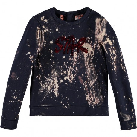 CKS Pullover girl dark blue with bordeaux red sequins