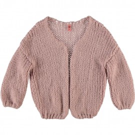 CKS Cardigan V-neck knitted girl greyish pink