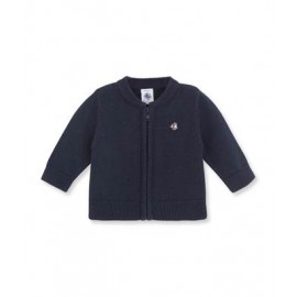 PETIT BATEAU Cardigan round neck zippered boy dark blue