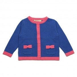 VINROSE Cardigan round neck girl cobalt blue