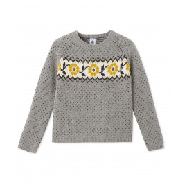 PETIT BATEAU Pullover round neck in jacquard wool knit girl light grey