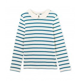 PETIT BATEAU T-shirt long-sleeved girl striped offwhite and petrol blue