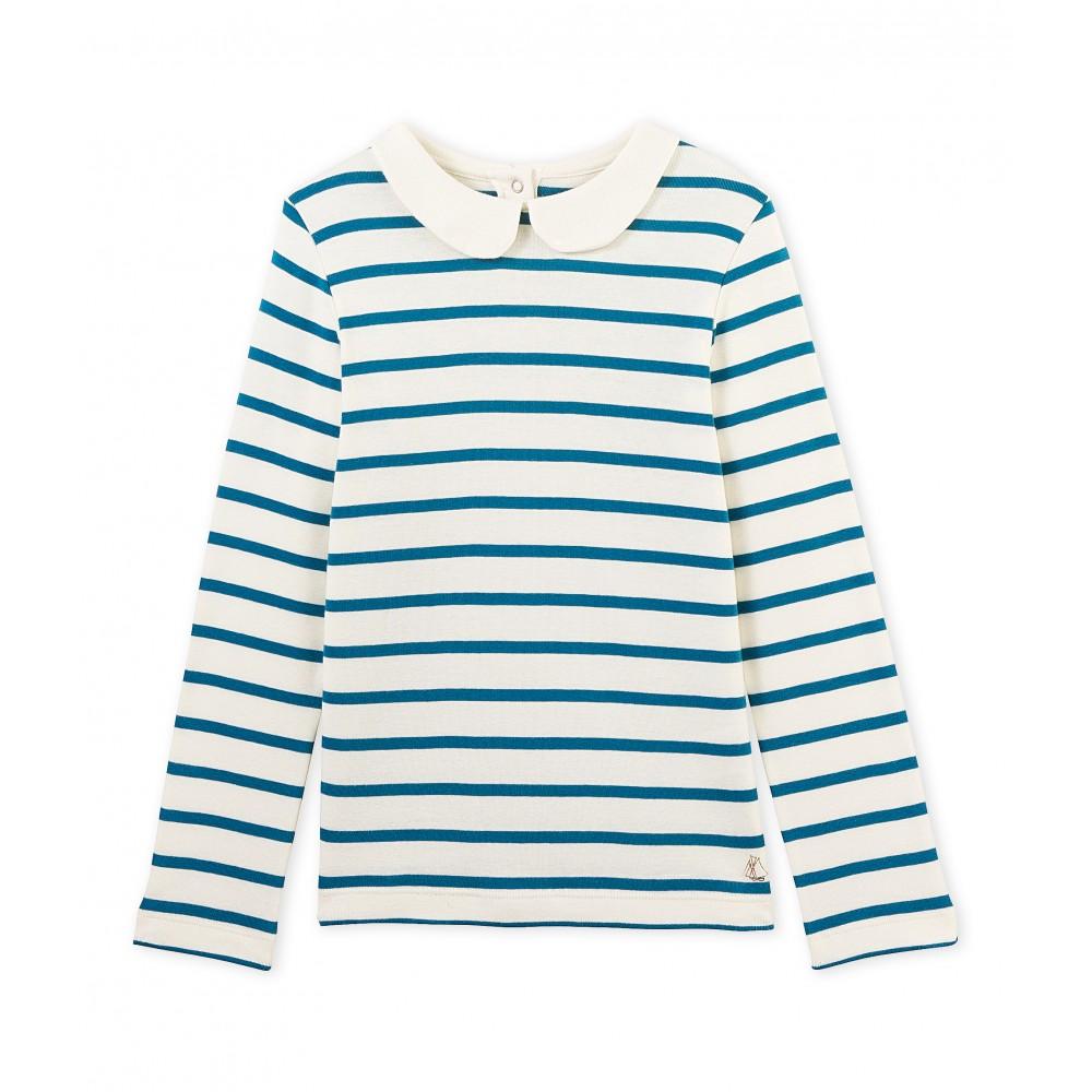 Petit bateau t shirt long sleeved girl striped offwhite for Petit bateau striped shirt