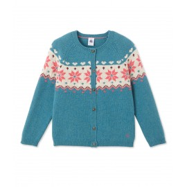 PETIT BATEAU Cardigan in jacquard wool knit girl petrol blue