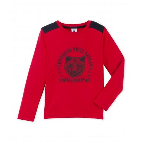 PETIT BATEAU T-shirt long-sleeved boy red with dark blue print