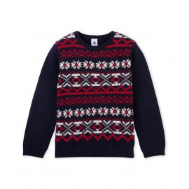 PETIT BATEAU Pullover round neck in jacquard wool knit boy dark blue