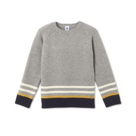 PETIT BATEAU Pullover round neck in jacquard wool knit boy light grey