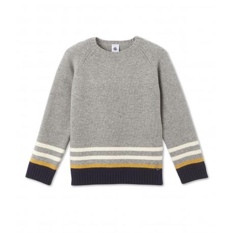 PETIT BATEAU Pullover round neck in jacquard wool knit boy light grey